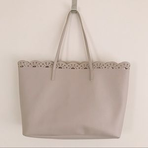 Macy's taupe/nude scallop cut out edge tote bag